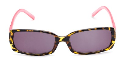 Front of The Shandy Reading Sunglasses in Brown Tortoise/Pink with Smoke