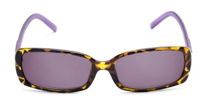 Front of The Shandy Reading Sunglasses in Brown Tortoise/Purple with Smoke