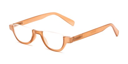 Angle of The Shay in Tan, Women's and Men's Round Reading Glasses