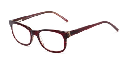 Angle of The Sheridan Customizable Reader in Burgundy/Brown, Women's and Men's Retro Square Reading Glasses
