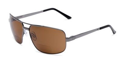 Angle of The Sherlock Polarized Bifocal Reading Sunglasses in Grey with Amber, Women's and Men's Aviator Reading Sunglasses
