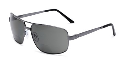 Angle of The Sherlock Polarized Bifocal Reading Sunglasses in Grey with Smoke, Women's and Men's Aviator Reading Sunglasses