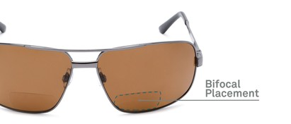 Detail of The Sherlock Polarized Bifocal Reading Sunglasses in Grey with Amber