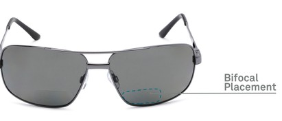Detail of The Sherlock Polarized Bifocal Reading Sunglasses in Grey with Smoke
