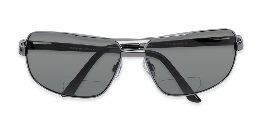 d1a274af17 Angle of The Sherlock Polarized Bifocal Reading Sunglasses in Silver with  ...