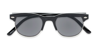 Folded of The Shiloh Reading Sunglasses in Black with Smoke