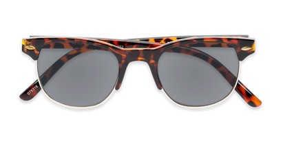 Folded of The Shiloh Reading Sunglasses in Tortoise with Smoke