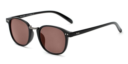 Angle of The Silas Reading Sunglasses in Black with Amber, Women's and Men's Round Reading Sunglasses