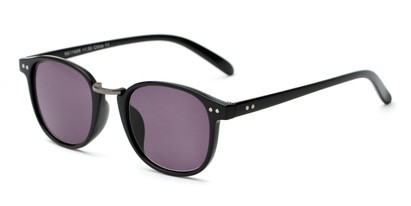 Angle of The Silas Reading Sunglasses in Black with Smoke, Women's and Men's Round Reading Sunglasses