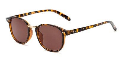 Angle of The Silas Reading Sunglasses in Tortoise with Amber, Women's and Men's Round Reading Sunglasses