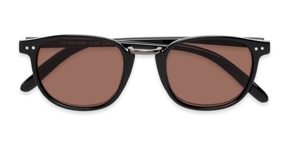 Folded of The Silas Reading Sunglasses in Black with Amber