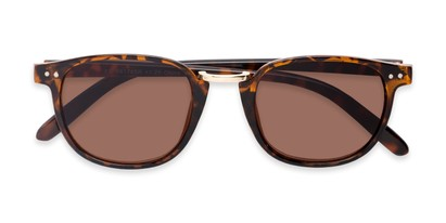 Folded of The Silas Reading Sunglasses in Tortoise with Amber
