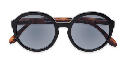 Folded of The Simone Reading Sunglasses in Black/Tortoise with Smoke
