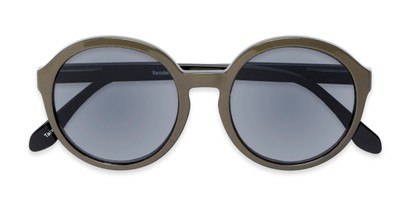 Folded of The Simone Reading Sunglasses in Tan/Black with Smoke