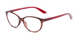 Angle of The Singer in Red Marble, Women's Cat Eye Reading Glasses