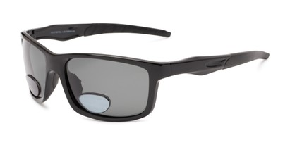 Angle of The Skipper Polarized Bifocal Reading Sunglasses in Glossy Black with Smoke, Women's and Men's Sport & Wrap-Around Reading Sunglasses