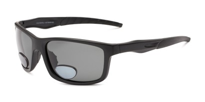 Angle of The Skipper Polarized Bifocal Reading Sunglasses in Matte Black with Smoke, Women's and Men's Sport & Wrap-Around Reading Sunglasses