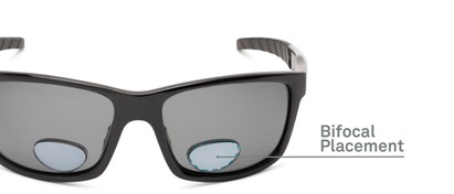 Detail of The Skipper Polarized Bifocal Reading Sunglasses in Glossy Black with Smoke
