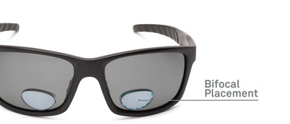 Detail of The Skipper Polarized Bifocal Reading Sunglasses in Matte Black with Smoke