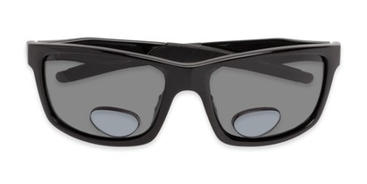 Folded of The Skipper Polarized Bifocal Reading Sunglasses in Glossy Black with Smoke