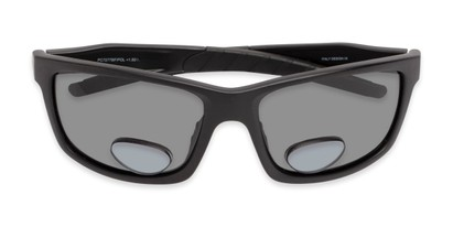 Folded of The Skipper Polarized Bifocal Reading Sunglasses in Matte Black with Smoke