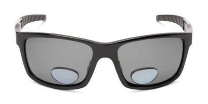 Front of The Skipper Polarized Bifocal Reading Sunglasses in Glossy Black with Smoke