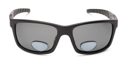 Front of The Skipper Polarized Bifocal Reading Sunglasses in Matte Black with Smoke