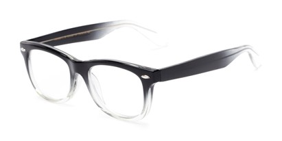 Angle of The Skye in Black/Clear Fade, Women's and Men's Retro Square Reading Glasses