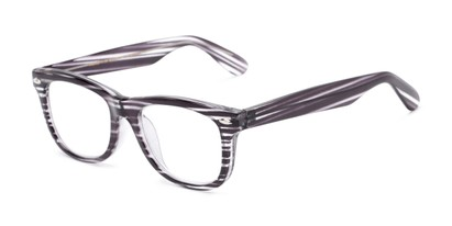 Angle of The Skye in Black/Clear Stripe, Women's and Men's Retro Square Reading Glasses