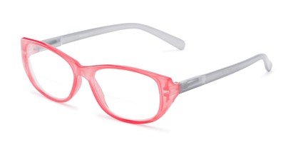 Angle of The Sloan Bifocal in Pink/Grey, Women's Cat Eye Reading Glasses