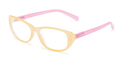 Angle of The Sloan Bifocal in Yellow/Light Pink, Women's Cat Eye Reading Glasses