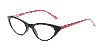 Angle of The Snowflake in Black/Red, Women's Cat Eye Reading Glasses
