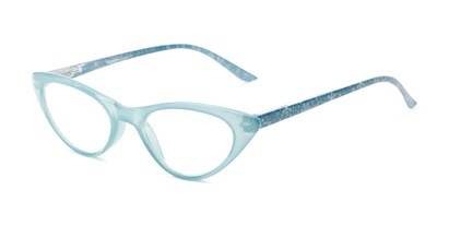 Angle of The Snowflake in Light Blue, Women's Cat Eye Reading Glasses