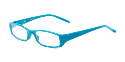 Angle of The Sophie in Sky Blue, Women's Rectangle Reading Glasses