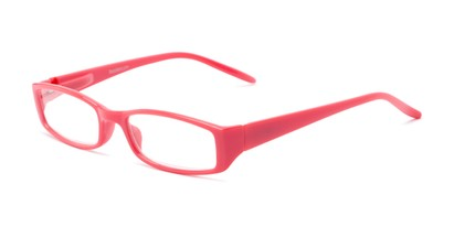 Angle of The Sophie in Coral, Women's Rectangle Reading Glasses