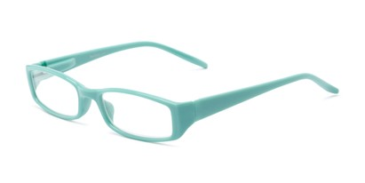 Angle of The Sophie in Teal, Women's Rectangle Reading Glasses
