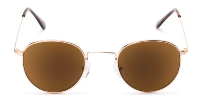Front of The Spirit Reading Sunglasses in Gold with Amber