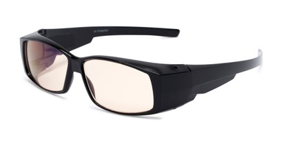 Angle of The Spokane Fit Over Unmagnified Computer Glasses in Glossy Black with Yellow, Women's and Men's Square Reading Glasses