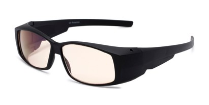 Angle of The Spokane Fit Over Unmagnified Computer Glasses in Matte Black with Yellow, Women's and Men's Square Reading Glasses