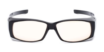 Front of The Spokane Fit Over Unmagnified Computer Glasses in Glossy Black with Yellow