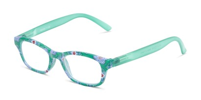 Angle of The Sprinkle in Green Floral, Women's Rectangle Reading Glasses