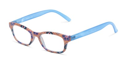 Angle of The Sprinkle in Orange/Blue Floral, Women's Rectangle Reading Glasses