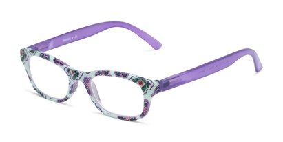 Angle of The Sprinkle in Mint/Purple Floral, Women's Rectangle Reading Glasses