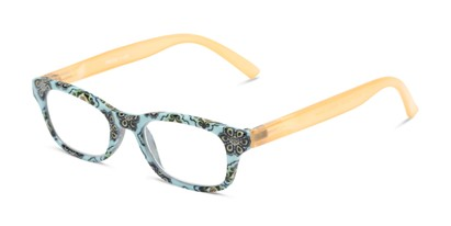 Angle of The Sprinkle in Teal/Orange Floral, Women's Rectangle Reading Glasses