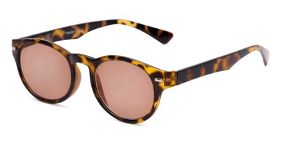 Angle of The St. Paul Reading Sunglasses in Tortoise with Amber, Women's and Men's Round Reading Sunglasses