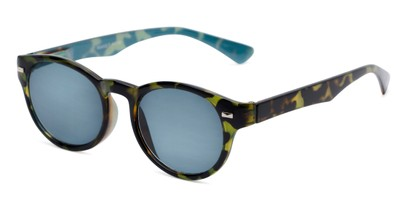 Angle of The St. Paul Reading Sunglasses in Green Tortoise/Blue with Smoke, Women's and Men's Round Reading Sunglasses