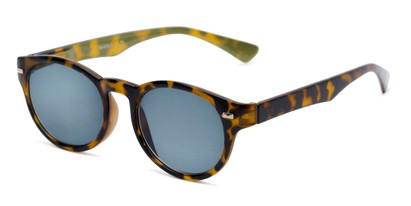 Angle of The St. Paul Reading Sunglasses in Tortoise/Yellow with Smoke, Women's and Men's Round Reading Sunglasses
