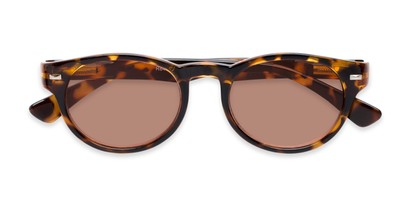 Folded of The St. Paul Reading Sunglasses in Tortoise with Amber