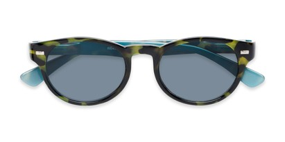 Folded of The St. Paul Reading Sunglasses in Green Tortoise/Blue with Smoke