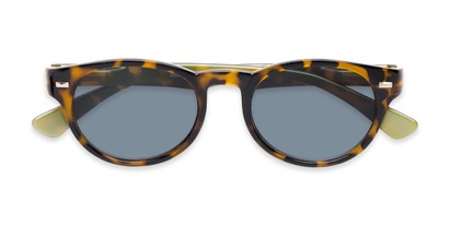Folded of The St. Paul Reading Sunglasses in Tortoise/Yellow with Smoke